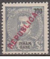 INHAMBANE - 1917, D. Carlos L, Com Sobrecarga «REPUBLICA»  - 700 R.  (LOCAL)   (*) MNG   Afinsa  Nº 101 - Inhambane