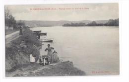 Cpa Le Manoir Sur Seine   ( Eure) -  Paysage Animé Au Bord De La Seine - Le Manoir