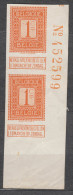 Belgium 1912 Mi#89 Imperforated Vertical Pair With Sheet Number, Mint Hinged - 1912 Pellens