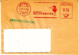 EMA METER STAMP FREISTEMPEL FRONT GERMANY - KETTWIG 1965 VOGEL Crow Bird Corvus Oiseaux - Other