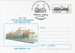 33267- TIMISOARA-JIMBOLIA RAILWAY, STATION, TRAINS, LOCOMOTIVE, COVER STATIONERY, 1997, ROMANIA - Trains