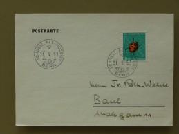 """SUISSE / SCHWEIZ - CPA, 10Rp. PRO JUVENTUTE 1952, COCCINELLE, Oblitéré (dernier Jour) """"PTT-MUSEUM 31.V.53"""" => BASEL - Insectes"""