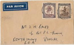 LPF5/BL - CONGO BELGE LETTRE AVION GOMA / RONGAI 23/8/1946 - Belgisch-Kongo