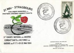 Enveloppe - Colloque Européen Des Postiers Anciens Combattants  - Strasbourg  21 Mai  1964 - Marcofilia (sobres)