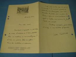 LETTRE AUTOGRAPHE SIGNEE DE LEON VALLAS 1923 MUSICOLOGUE MEDECIN CRITIQUE RADIOFFUSION LYON  à HENRI BERAUD - Autógrafos