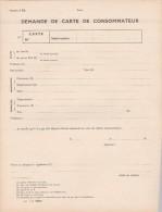 Restriction Rationnement - Demande De Carte De Consommateur - 4 Pages - Neuve - Bons & Nécessité