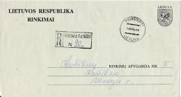 Registered Stationery Election Mail Cover - Lietuvos Respublika Rinkimai - 12 February 1993 Krikštėnai - Lithuania