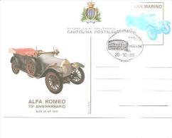 75443) Intero Postale Di S. Marino  75 ° ANN. ALFA ROMEO+ Annullo Speciale Italia 85 - Cartoline Maximum