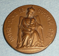 Rare Plaque Médaille En Métal Doré Embouti, Religion, ND Notre-Dame De Buglose PPN, Enfant Jésus Christ - Religione & Esoterismo