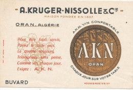 BU 1389/  BUVARD A KRUGER- NISSOLLE & Cie  VIN  ORAN ALGERIE - Limonades