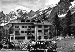 "03082 ""(AO) COURMAYEUR M. 1224 - ALBERGO GOLF A PLAMPINCIEUX""  ANIMATA, AUTO '50.CART. SPED. 1959 - Italia"