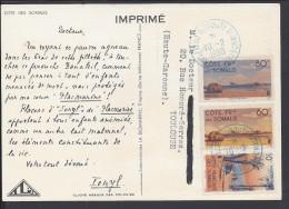 """FRANCE - 1950 - TIMBRES DE LA COTE FRse DES SOMALIS SUR CARTE IMPRIME ILLUSTREE """" LABORATOIRE LA BIOMARINE """" - Lettres & Documents"""