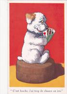 CPA Animal Humanisé Position Humaine Chien Jouant Aux Cartes Dog Playing Card Illustrateur - Cartes à Jouer