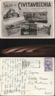 3075) SALUTI DA CIVITAVECCHIA HOTEL TERME PORTO PIRGO IL FARO PIAZZA VITTORIO EMANUELE VEDUTINE VIAGGIATA 1952 - Civitavecchia