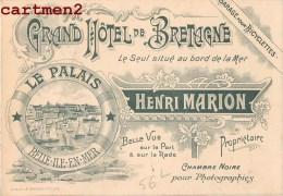 BELLE-ILE-EN-MER CARTE PUBLICITE GRAND HOTEL DE BRETAGNE HENRI MARION BELLE-ISLE-EN-MER - Belle Ile En Mer