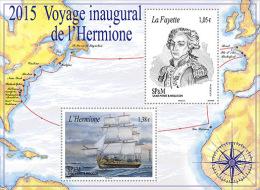 Saint-Pierre-et-Miquelon 2015  - Bloc Voyage Inaugural De L´Hermione Mnh - Schiffe
