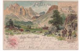 KÜNSTLER LITHO - HEUBNER    GRUSS VON DER VAJOLETTHÜTTE  1898 - Italy