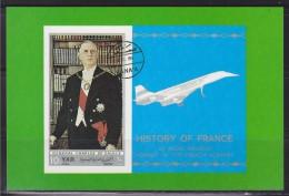 = Reprise Timbre Y.A.R Général De Gaulle Sur Carte Postale Neuve Portrait Du Président Et Concorde - De Gaulle (Generale)