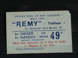 Publicité Remy - Tailleur - 38 Boulevard Saint Michel - Paris - Monsieur Platine Représentant De La Maison De Blanc Jean - Werbepostkarten