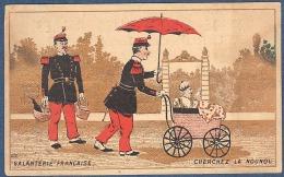 Chromo Grande épicerie Des Halles Tours Litho Gibert Clarey Militaire Bébé Landeau Galanterie Française Nounou Devinette - Trade Cards