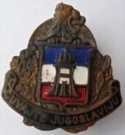 YUGOSLAVIA KINGDOM '' CUVAJTE JUGOSLAVIJU '' Vintage Enamel Buttonhole Pin Badge  RRARE - Army
