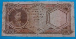GREECE 1000 DRACHMAI ND 1947, VF, PICK-180 - Greece