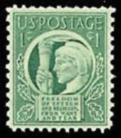 1943 USA Four Freedoms Stamp Sc#908 Torch Roosevelt Religion Food - Verenigde Staten