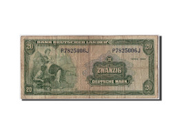 GERMANY - FEDERAL REPUBLIC, 20 Deutsche Mark, 1949, KM:17a, 1949-08-22, B+ - [ 7] 1949-… : RFA - Rép. Féd. D'Allemagne
