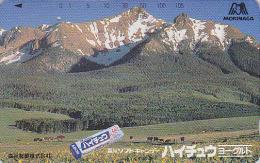 Télécarte Japon - Montagne Alpes Japonaises VACHE & Chewing Gum Au Yaourt - COW Japan Phonecard  * * ONE PUNCH **-  37 - Montagnes