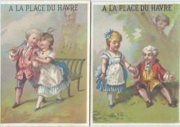 Magasin/2 Chromos/A LaPlace Du Havre/Nouveautés/Place DuHavre / Paris/vers 1885   IMA37 - Autres