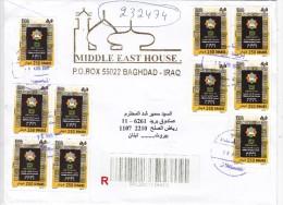 Iraq Regsitr.com.cover 2009,franked 10 Stamps Jerusalem Cult.Capital All Com,pl.set-verso Date-fine Condi - Iraq