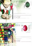 Poland - 2015 - Easter - Set Of 2 Postcards With Original Stamps - Ganzsachen