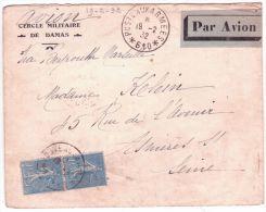 1932- Enveloppe Par Avion Du S P 610  Affr. Paire Semeuse N°205 Pour La France - Grand Liban (1924-1945)