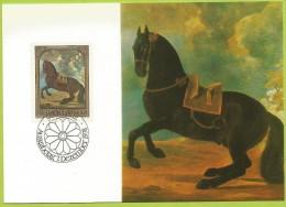 Liechtenstein 1978 659 CM Chevaux Tableau G. De Hamilton Étalon Bai Foncé - Cavalli