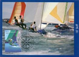 NEW ZELAND MAXIMUN  18 SKIFF FIRS DAY OF ISSUE  1999 - Zeilen