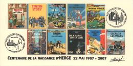 FRANCE 2007 N°79 Albums Fictifs + 2 Cachets Premier Jour FDC TINTIN KUIFJE TIM HERGE GUEBWILLER - Hergé