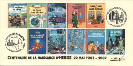 FRANCE 2007 N°80 Albums Fictifs + 2 Cachets Premier Jour FDC TINTIN KUIFJE TIM HERGE GUEBWILLER - Hergé