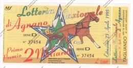 LOTTERIA NAZIONALE AGNANO 1995 - BIGLIETTO CON TAGLIANDO IN FDS - - Biglietti Della Lotteria