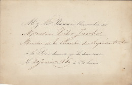 Carton D´invitation M Pinson 1869 Pour Ministre V Jacobs - Announcements