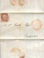 Año 1852 Edifil 12 6c Sello Isabel II Carta Matasellos Rejilla Bilbao Dirigida A Tordesillas - 1850-68 Königreich: Isabella II.