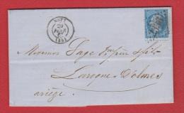 Lettre  //  De Metz  //  Pour Larroque D'Olmes   //  20 Février 1865  // - 1849-1876: Période Classique
