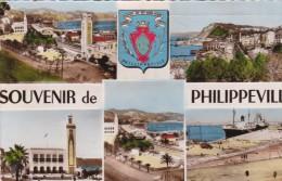 Algérie   :Philippeville  - L'Hôtel De Ville  , Place Marqué ,  Et Le Port   Multivues - - Skikda (Philippeville)