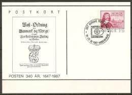 Norway 1987. International Stamp Exhibition HAFNIA´87 In Copenhagen. Card With Special Cancel. - Noorwegen