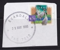 Australia 1999 45c Brolga On Piece - EVANDALE TAS 7212 - Used Stamps