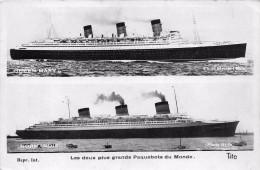¤¤  -   Carte-Photo  -  Les Deux Plus Grands Paquebots Du Monde  -  QUEEN MARY Et NORMANDIE   -  ¤¤ - Dampfer