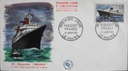 """FDC - 1er Jour 1962 - Paquebot """" FRANCE """" - Daté Le Havre Le 11 Janv. 62 - En TBE - FDC"""