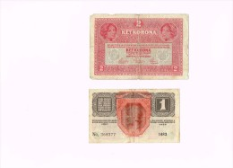 Austria 1 Krone Banknote 1916 + HUNGARY 2 KET KORONA TYPE 1917 BUDAPEST - Autriche