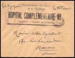 3108/ Lettre France Guerre 1914/1918 Santé Hopital Complémentaire N°69 Menton 1916 - Poststempel (Briefe)