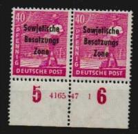 Deutschland SBZ 1948 Michel 193 HAN 4165.47 1 **, 40 Pfg. Freimarke Postfrisches Unterrandpaar Geprüft Paul BPP (120.-€) - Sowjetische Zone (SBZ)