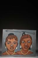 Tableau De Coiffeur Double Faces - Art Africain